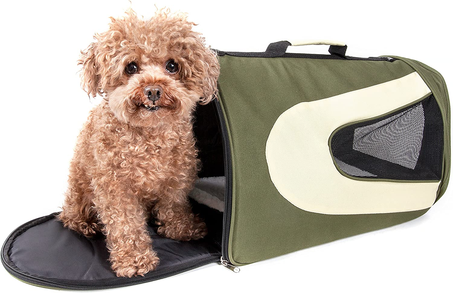 PET LIFE Airline Approved Collapsible Zippered Folding Sporty Mesh Travel Fashion Pet Dog Carrier Crate, Large, Green & Khaki : Pet Supplies