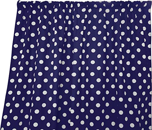 Cheap lovemyfabric Cotton Polka Dot Print Curtain Panel 58″ Wide Home Decor/Window Treatment/Photography Backdrop/Photo-Booth Backdrop White on Navy 120″ Tall window curtain panel for sale