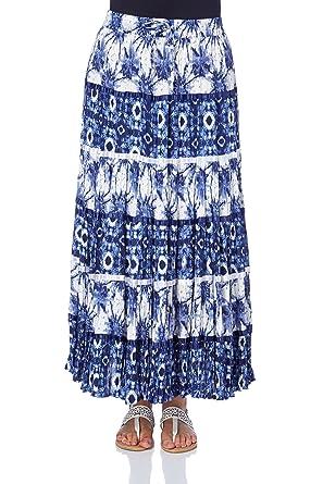 a6bd4fffa Roman Originals Women's Printed Tier Summer Skirt - Ladies Classic A-Line  Bohemian Boho Day