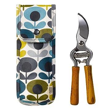 Orla Kiely Gartenschere und Tasche, oval & mit Blumen Aufdruck, BlauGrün