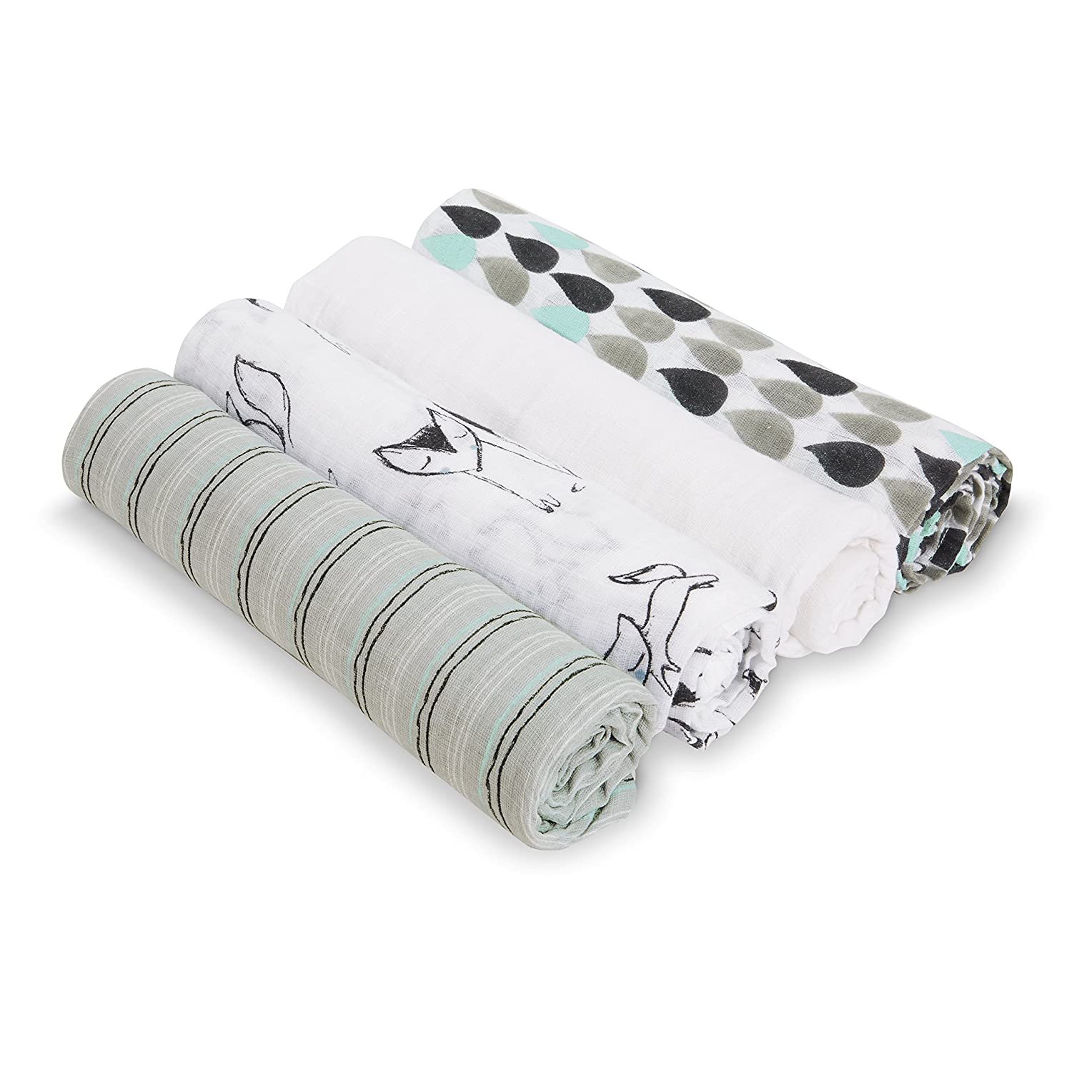 100/% Cotton Muslin Sky high 4-Pack S3107 4-Pack Aden by aden Large 44 X 44 inch anais Baby Muslin Swaddle Blanket