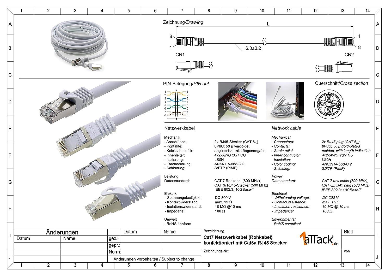 Cable Ethernet Cat7 Cat.7 Gigabit Cable de Red LAN con Conector Cat6a RJ45 (con Doble blindaje) 500 MHz Azul: Amazon.es: Electrónica