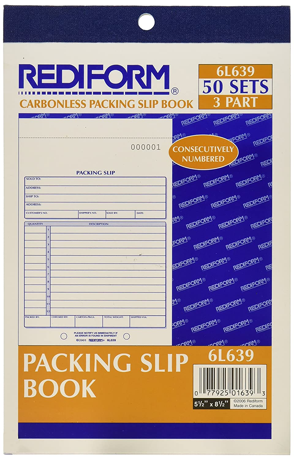 com rediform packing slip carbonless triplicate x com rediform packing slip carbonless triplicate 5 5 x 7 87 50 sets per book 6l639 blank shipping forms office products