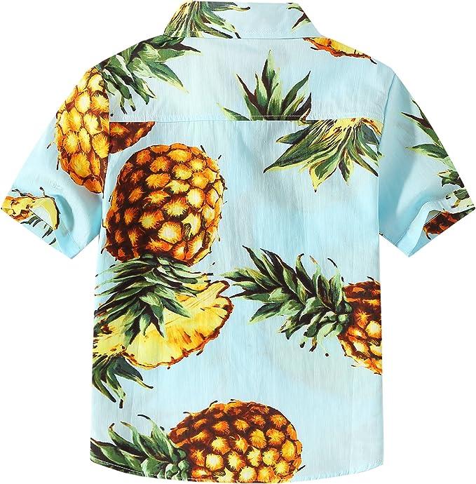 SSLR Camisa Manga Corta con Estampado de Piñas Estilo Hawaiana para Niño: Amazon.es: Ropa y accesorios