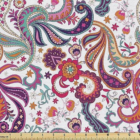 Custom Prints on 17+ Options Canvas Silk Fabric Paisley Mini in Berry Cotton Fabric Linen Fabric Outdoor Fabric Paisley Fabric