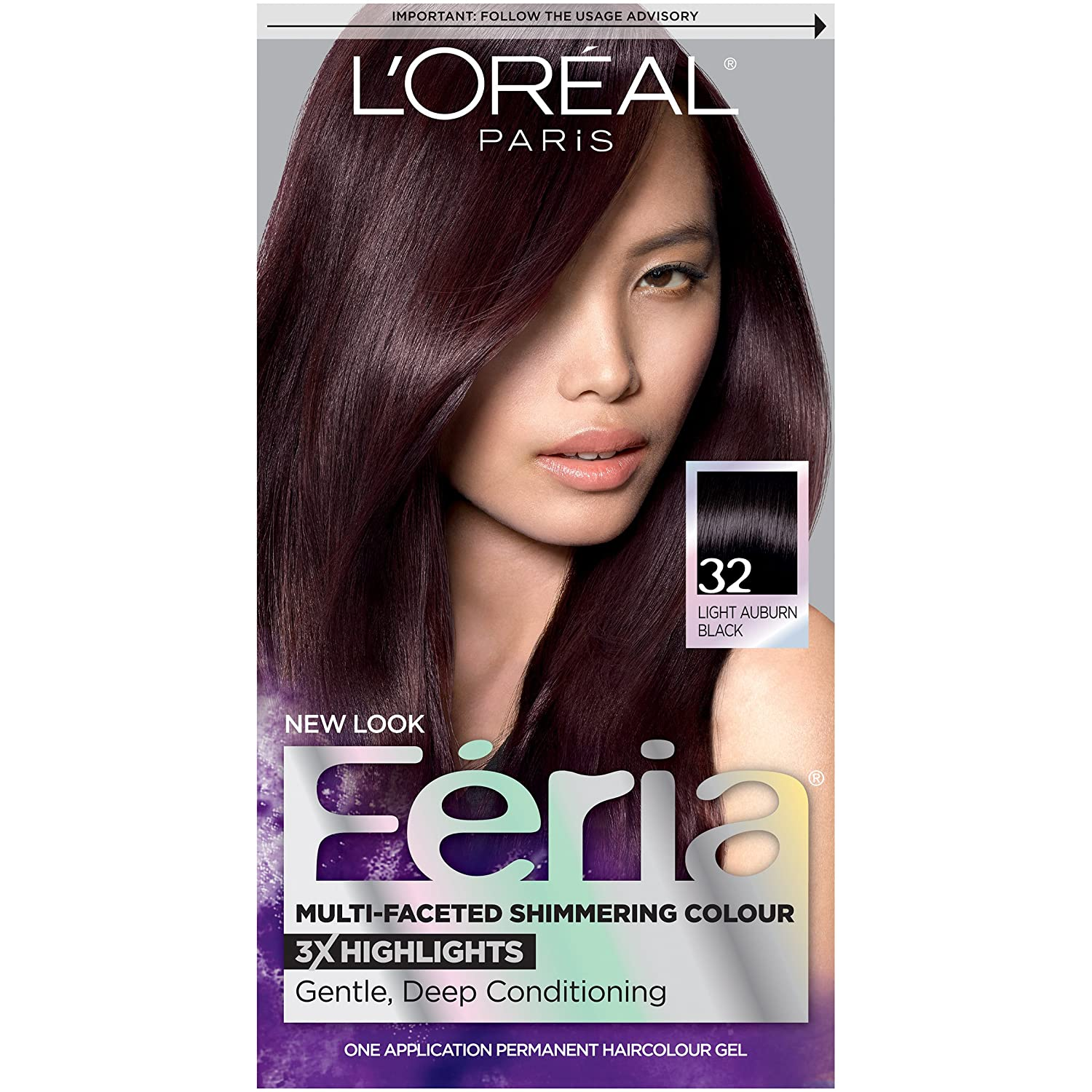 L'Oreal Paris Feria Multi-Faceted Shimmering Color, 32 Midnight Ruby (Light Auburn Black)