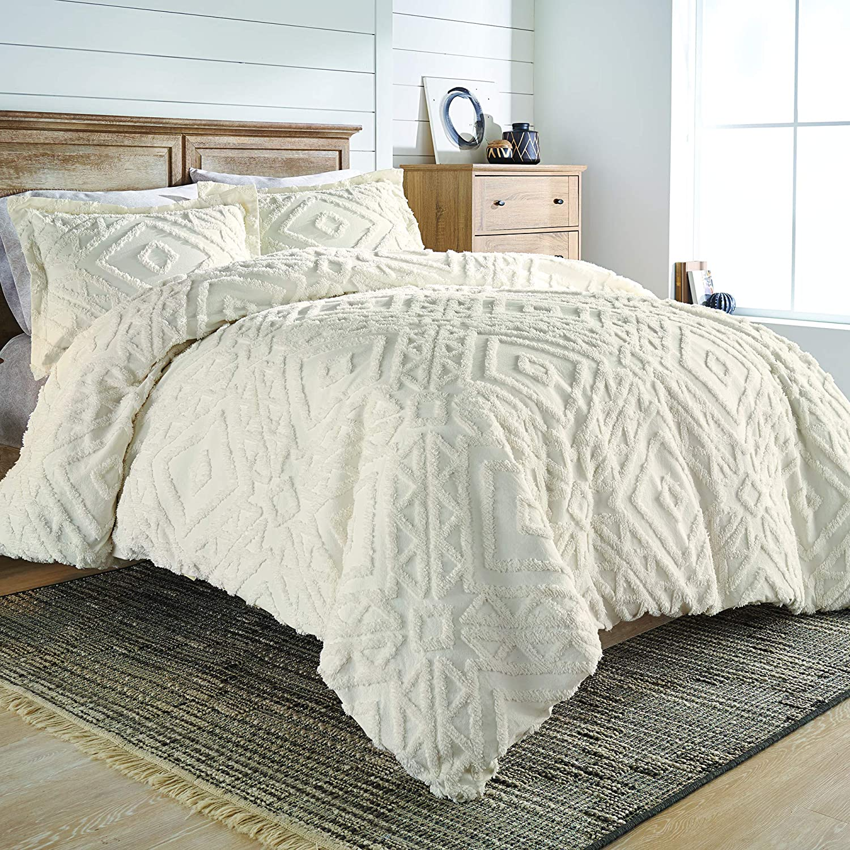Better Homes and gardens Textured White Stripe Quilt /& Sham Set Full//Queen NEW