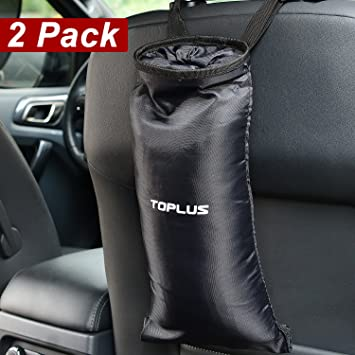 Toplus 2 PACK Car Trash Bags Can Washable Leakproof Eco Friendly Seatback