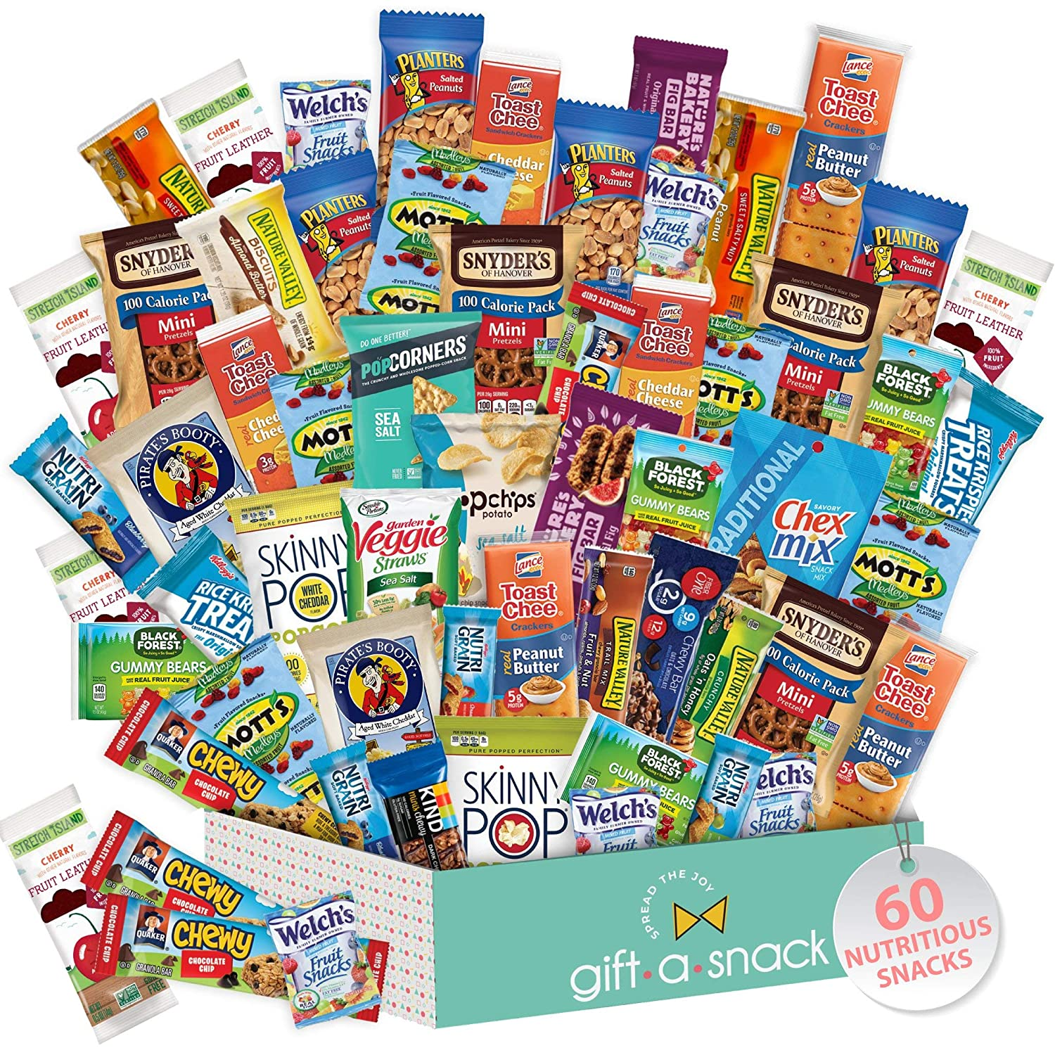 Healthy Snack Box Variety Pack (60 Count) Gift Basket - College Student Care Package, Natural Food Bars Nut Fruit, Nutritious Chips - Ultimate Birthday Treat for Women, Men, Adults, Teens, Kids