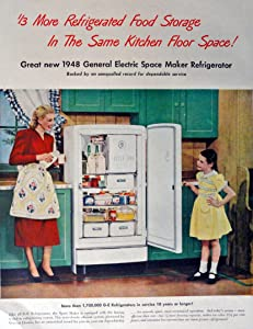 1948 General Electric Space Maker Refrigerator, 40's Print Ad. Color Illustration (mother and daughter) Original Vintage 1948 Life Magazine Print Art