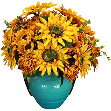 Amazon greentime artificial silk flowers 18 13 heads vintage greentime artificial silk flowers 18quot 13 heads vintage painting sunflower bouquet for wedding bouquet room mightylinksfo