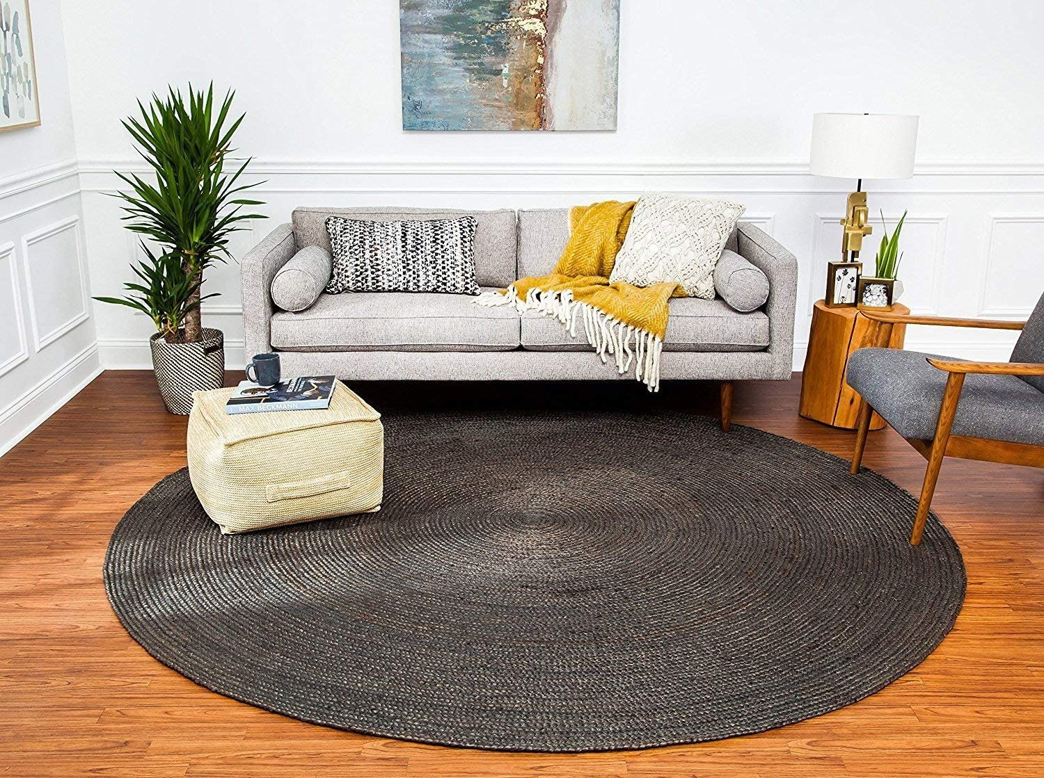 Anji Mountain Kerala Jute Area Rug, 4-Feet Diameter, Gray