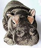 besonders aufwendig gearbeitetes Nilpferd liegend 42 cm, Schmusetier Kuscheltier Plüschnilpferd