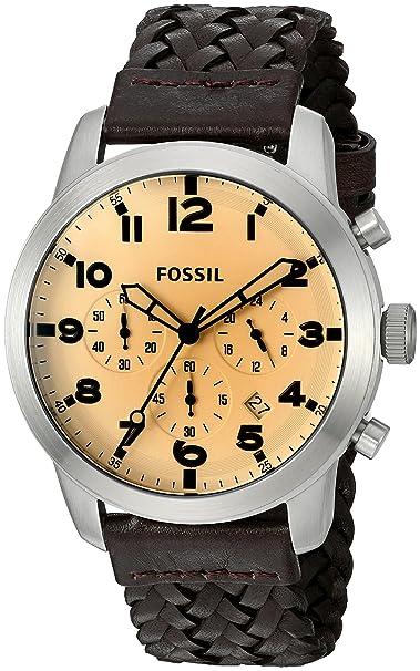 Fósil de Hombre fs5178 Piloto 54 - Reloj cronógrafo con Correa de Piel Color marrón Oscuro: Amazon.es: Relojes