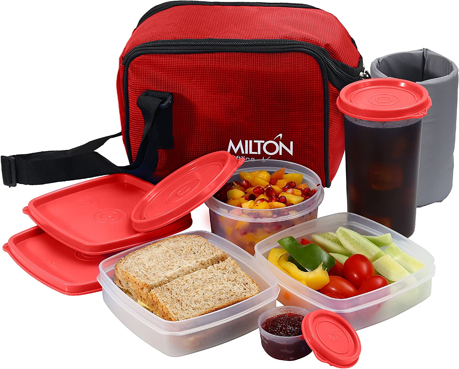 Insulated Lunch Bag Box Kit, Milton 5 Pc Set, Adults Men Women, Leakproof Airtight Containers Cooler Tote with Adjustable Shoulder Strap for Work and Travel - Red