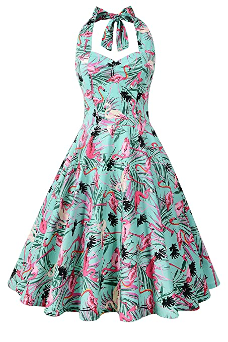 1950s Fashion Dresses:  Floral, Tropical, Tiki, Hawaiian Chicanary Womens Floral Printed Cotton Halter Swing Vintage Dress $27.60 AT vintagedancer.com
