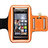 RiaTech® Sports Jogging Armband Compatible with Cellphones 5.7 Inch, Orange