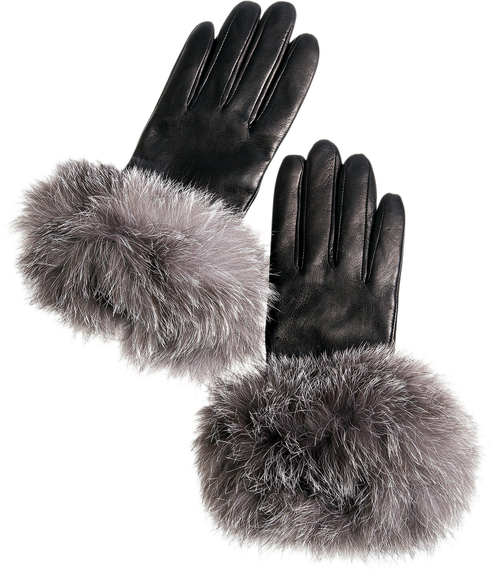 Women's Cashmere-Lined Lambskin Leather Gloves with Fox Fur Trim by Overland Sheepskin Co