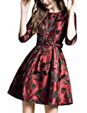 DanMunier Women's Half Sleeve Floral Contrast Bow Cocktail Evening Party Dress #7989