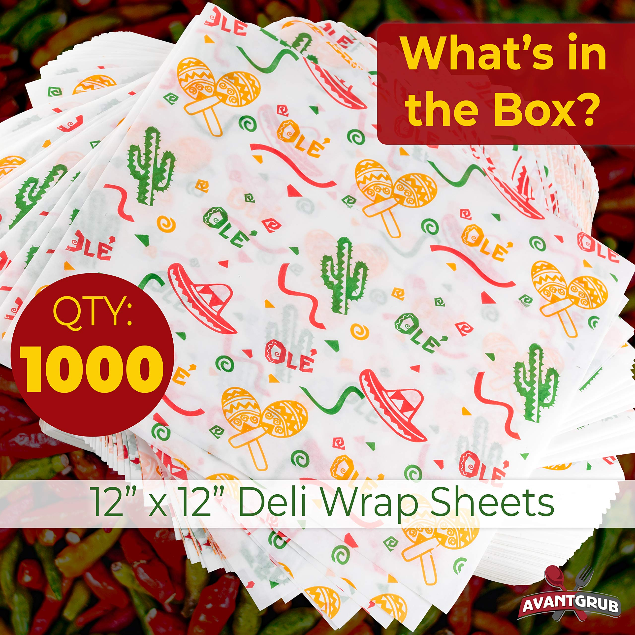 Fun, Fiesta Style 12in Deli Paper 1000 Ct. Greaseproof, Microwave-Safe Mexican Themed Tissue Great for Burrito Wrappers or Nacho Basket Liners. Southwest Party Supplies for Cinco de Mayo Celebration by Avant Grub (Image #2)