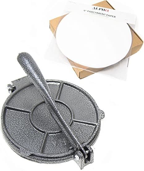 Amazon Com Alpha Living New Improved Tortilla Press And 50 Pc Parchment Paper 7 5 Inch Cast Iron Heavy Gauge Flour Corn Tortilla Press 50420 Kitchen Dining