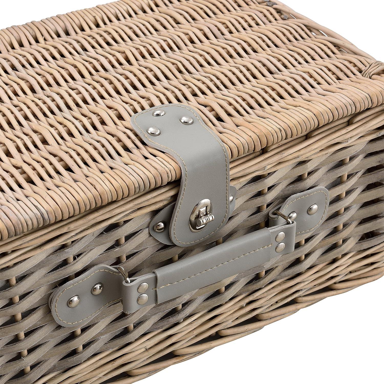 casa.pro Picknickkorb f/ür 4 Personen blau-wei/ß Besteck Geschirr Picknick-Set mit K/ühltasche inkl Korkenzieher und Gl/äser