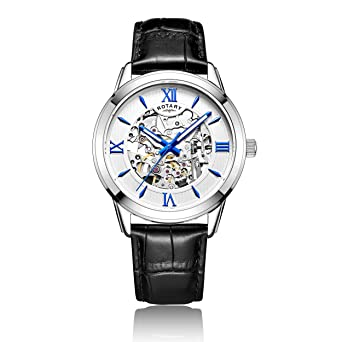 rotary men s automatic watch silver dial analogue display and rotary men s automatic watch silver dial analogue display and black leather strap gs00651 21