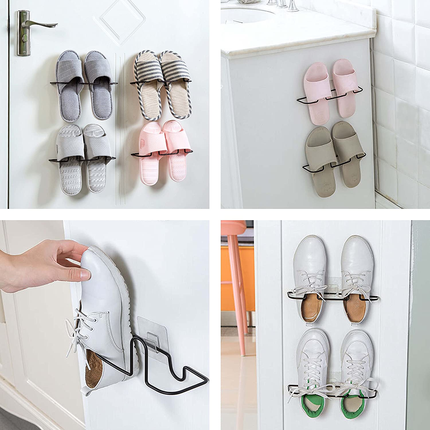 Easy Eco Life Wall Mount Shoe Rack Slipper Shelf Storage Organizer Bathroom Shower Room No Drilling No Tool,Damage Free Installation (2 Pcs / Pack) Easy & Eco Life