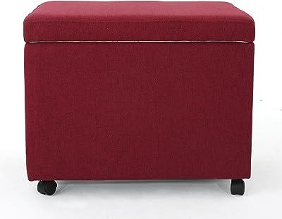 Kimber Home Office Deep Red Fabric Filing Ottoman