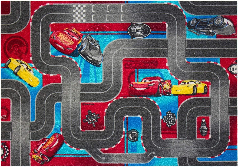 Cars 640019 Alfombra de Suelo, Terciopelo, RojoGris, 133 x