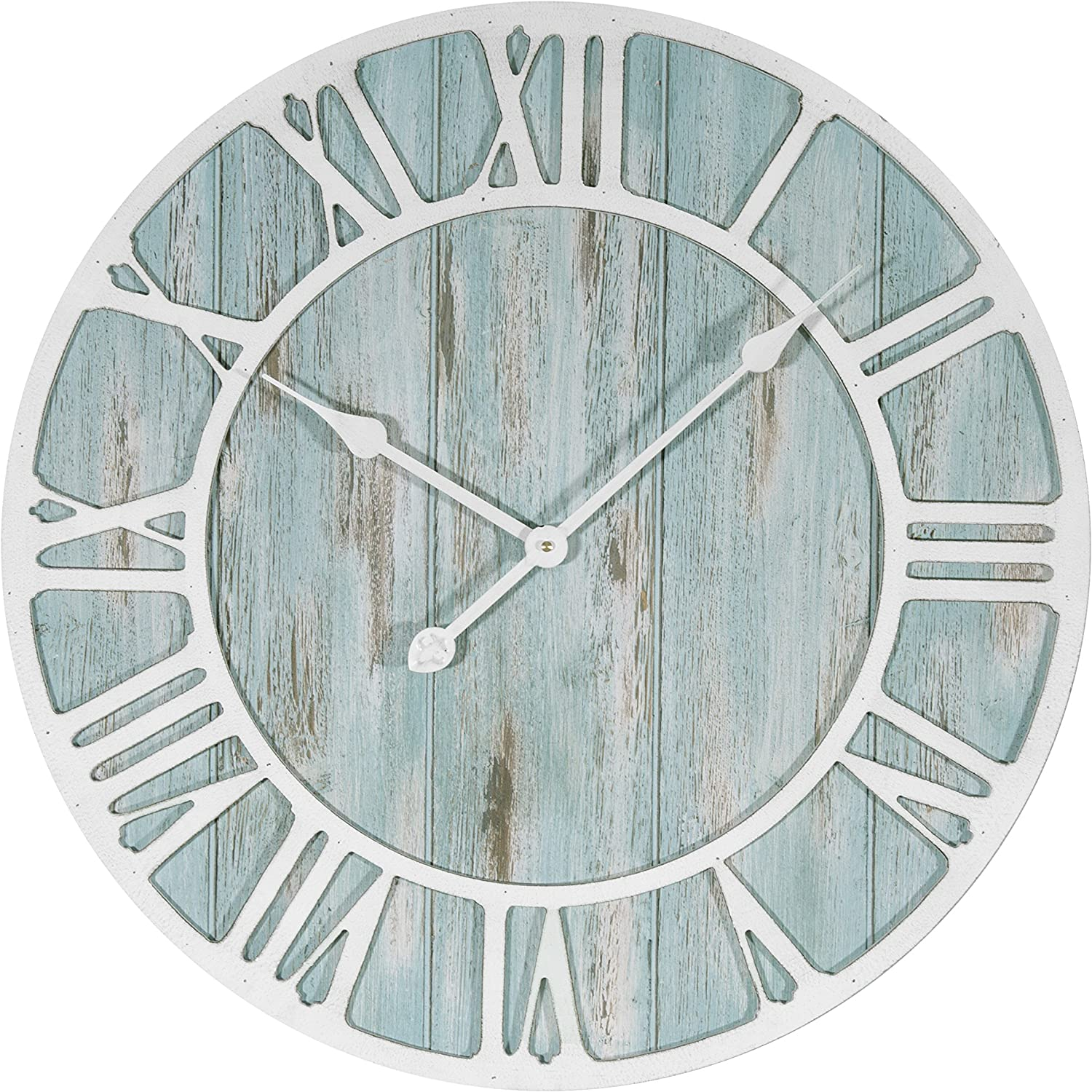 "La Crosse 404-4060 23.5"" Coastal Extra-Large Decorative Quartz Wall Clock, Blue-Green"
