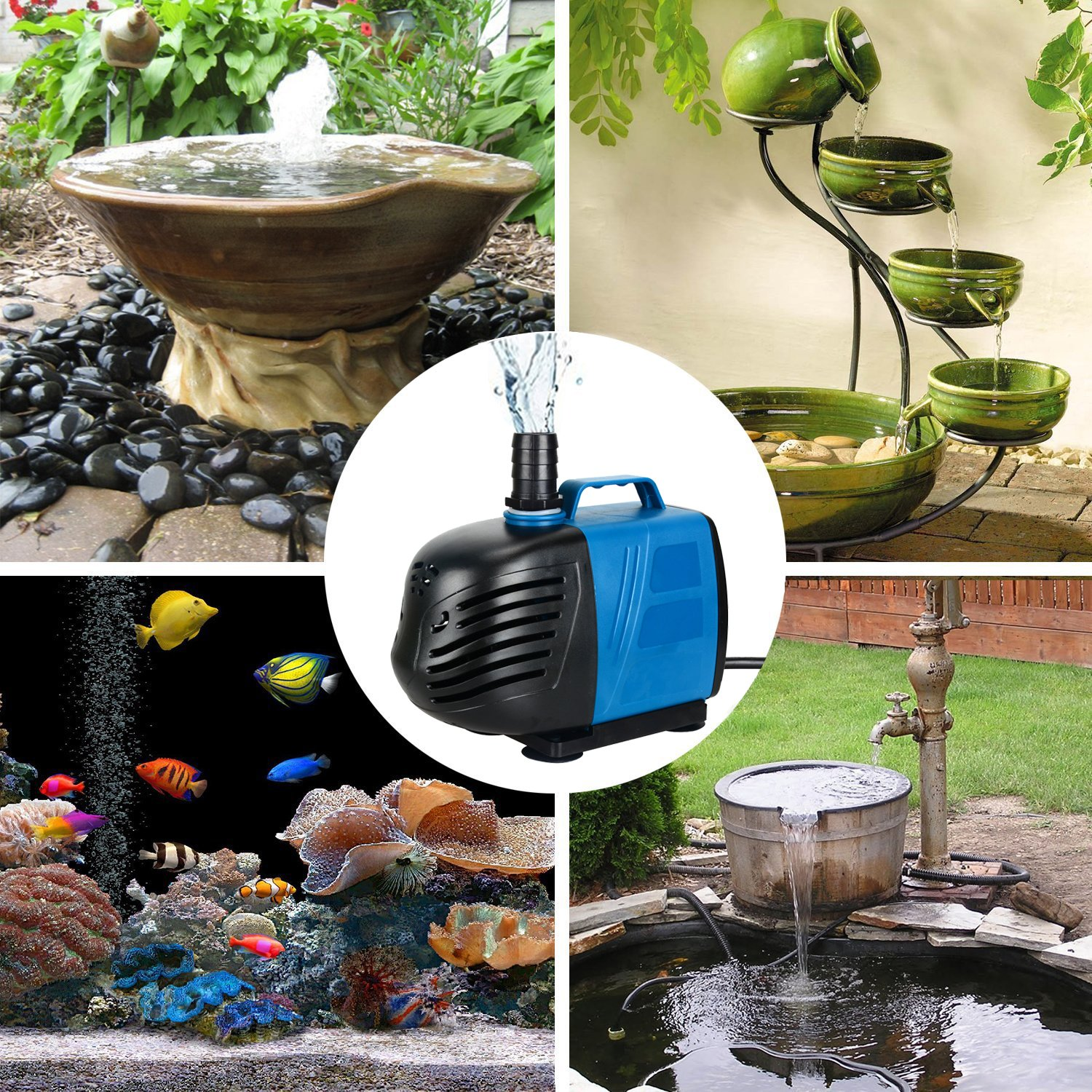 Uniclife 400-1000 GPH Submersible//Inline Water Pump for Pond Pool Fountain Aquarium Fish Tank