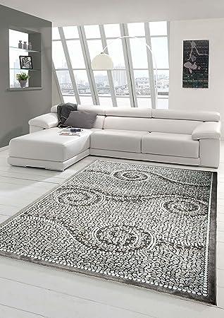Designer Teppich Moderner Teppich Wohnzimmer Teppich Mit Glitzer Stein  Optik In Grau Weiss Schwarz Größe 80