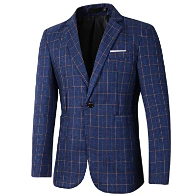 Beninos Mens Casual One Button Slim Fit Plaid Blazer Jacket Sport Coat at Amazon Men's Clothing store