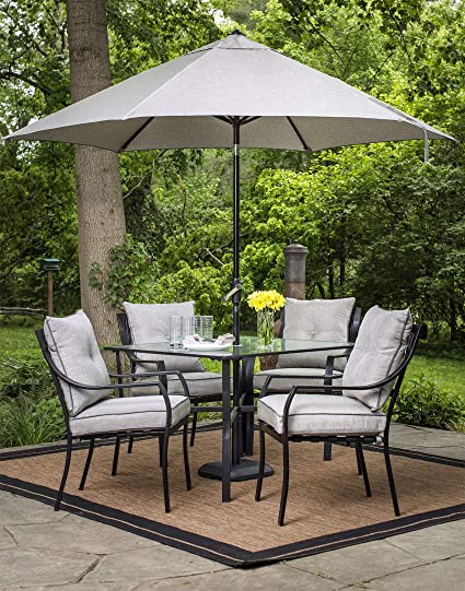 7224e7aa3340 Amazon.com: Hanover Lavallette 5 Piece Dining Set in Gray with Table  Umbrella and Stand: Garden & Outdoor