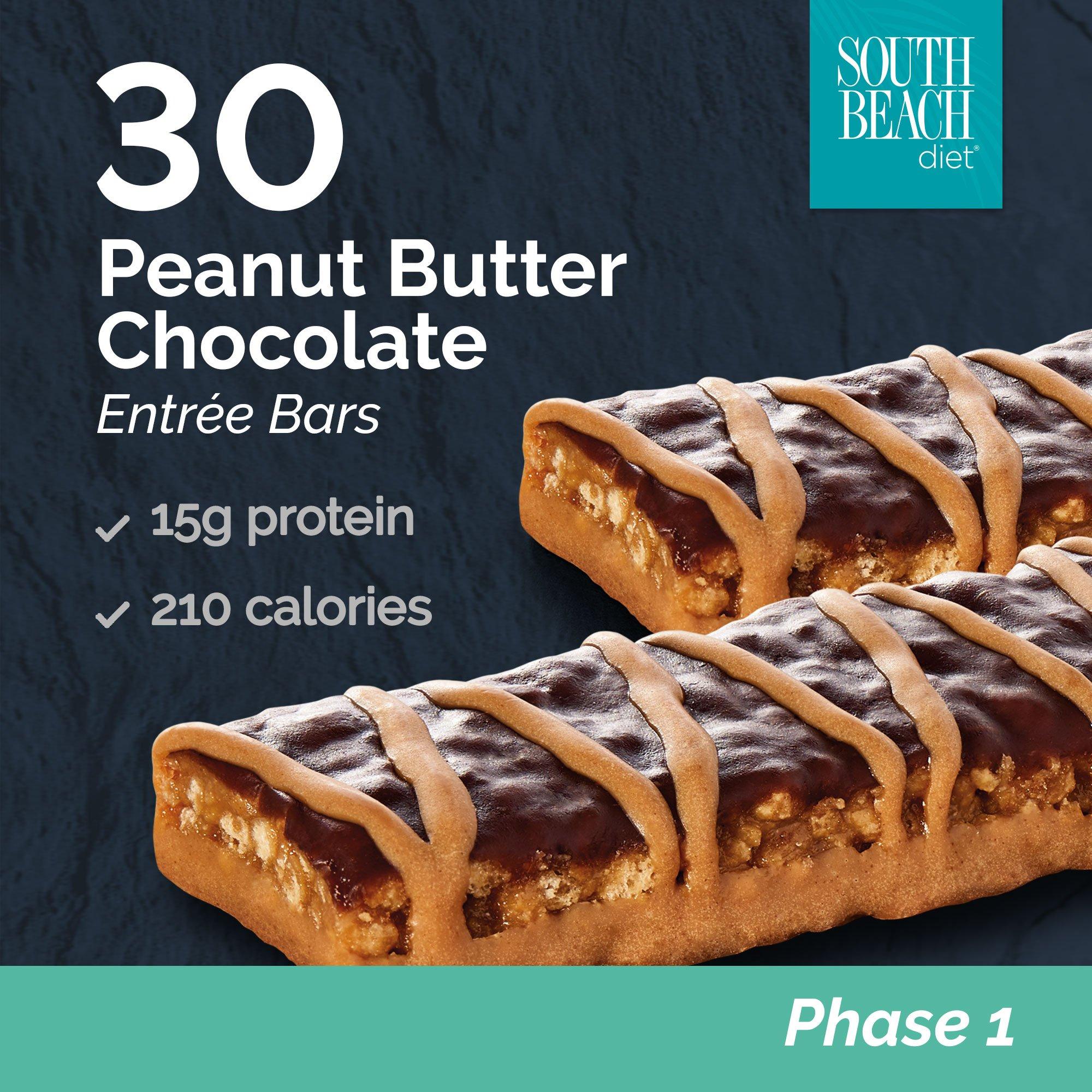 South Beach Diet Peanut Butter Chocolate Bar, 1.8 Oz Bar, 30 Count