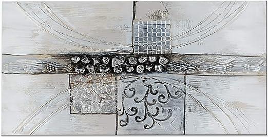 Gemälde Bild Wandbild Wanddeko Grau Silber Kunst