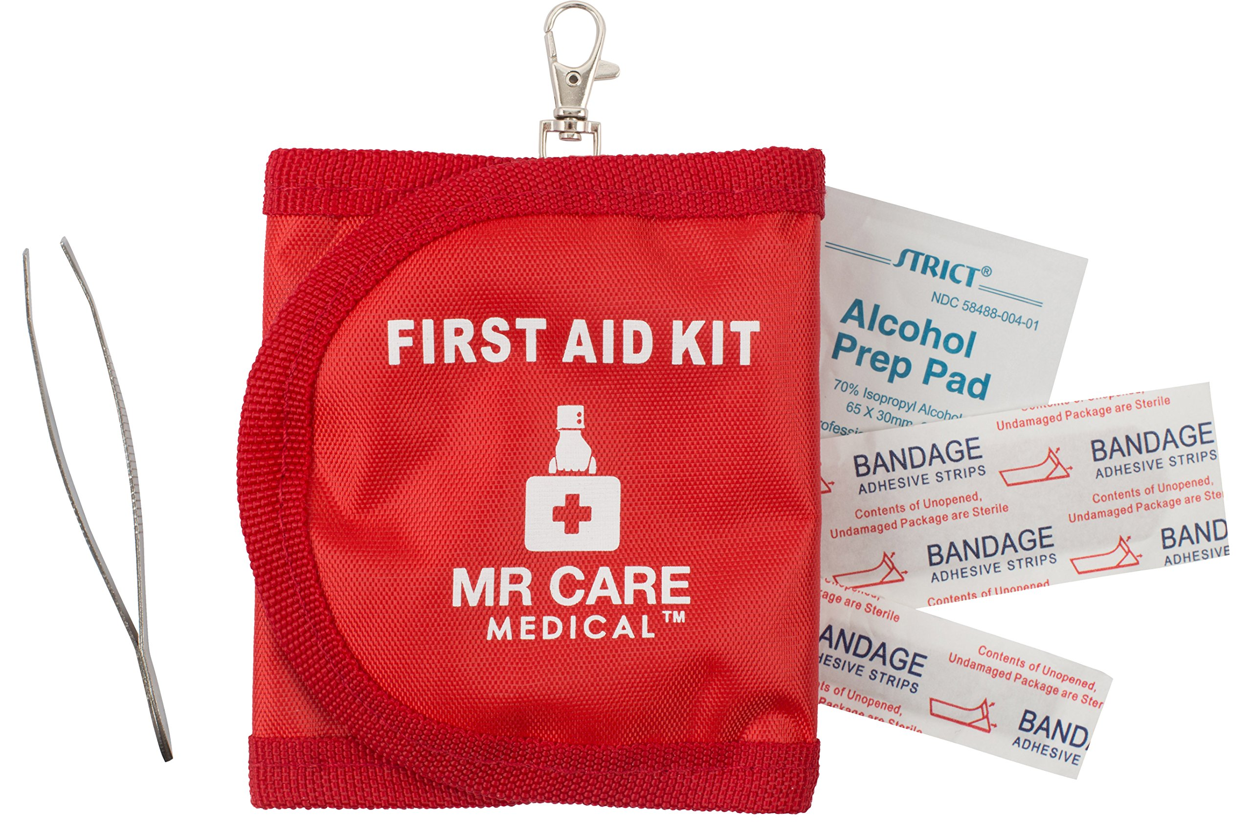 30 Piece First Aid Kit - Travel & Camping Compact and Portable Mini Emergency Response Kit with Keychain - by Mr Care Medical