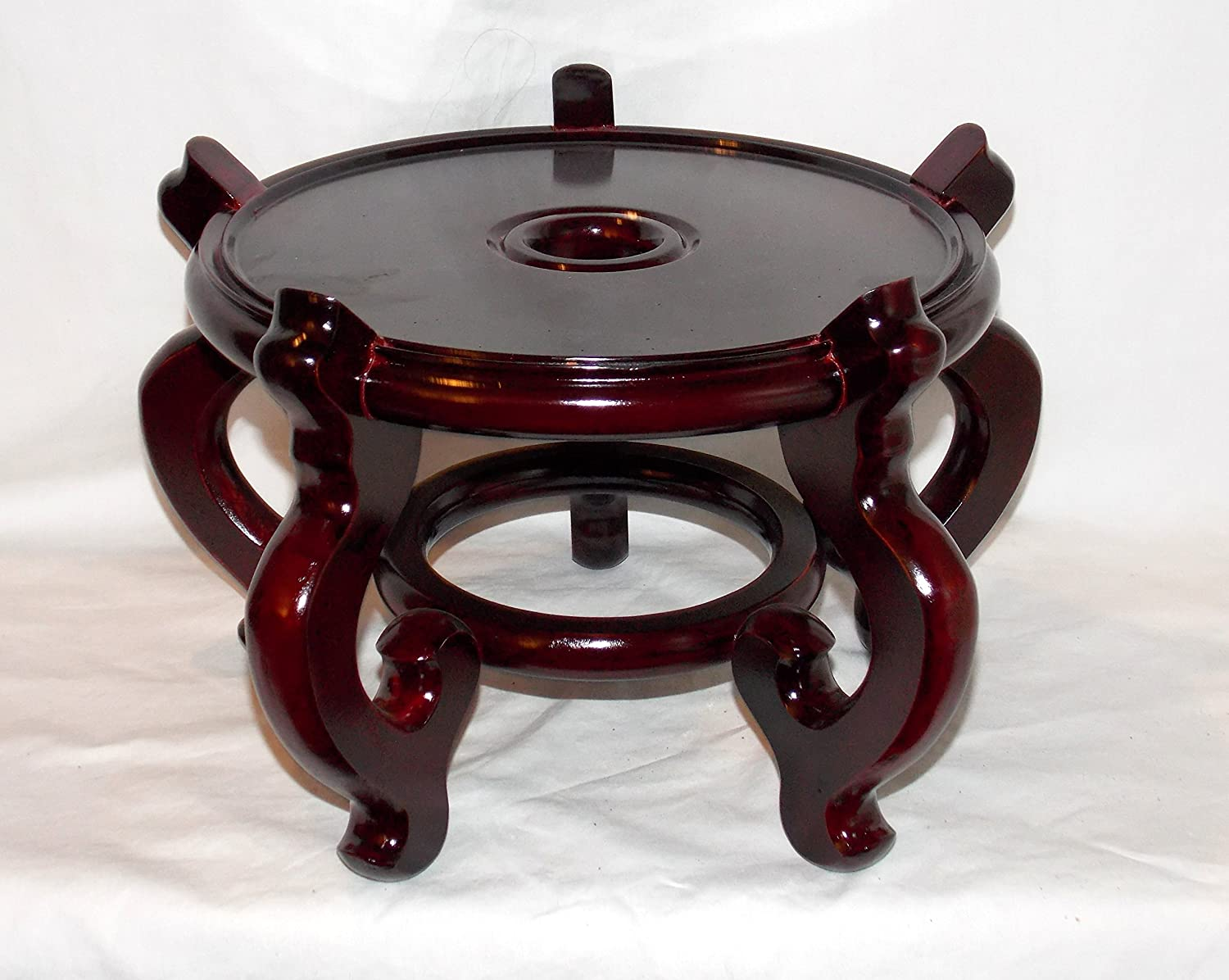 """NEW 9.5"""" DIAMETER x 8"""" TALL WOODEN ORIENTAL DARK CHERRY FISH BOWL PLANT STAND HOLDER QUALITY! (ON SALE NOW)"""