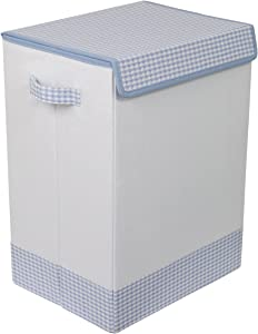 BirdRock Home Baby Clothes Hamper with Lid - Folding Cloth Hamper with Handles - Dirty Clothes Sorter Bin - Easy Storage - Collapsible - Blue and White