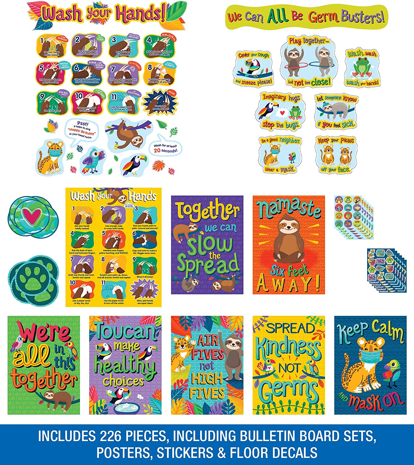 Carson-Dellosa One World Social Distancing Classroom Decorations, Floor Decals, Wash Your Hands Bulletin Board Set, Stickers, Classroom Posters, 226 Pieces (145186)