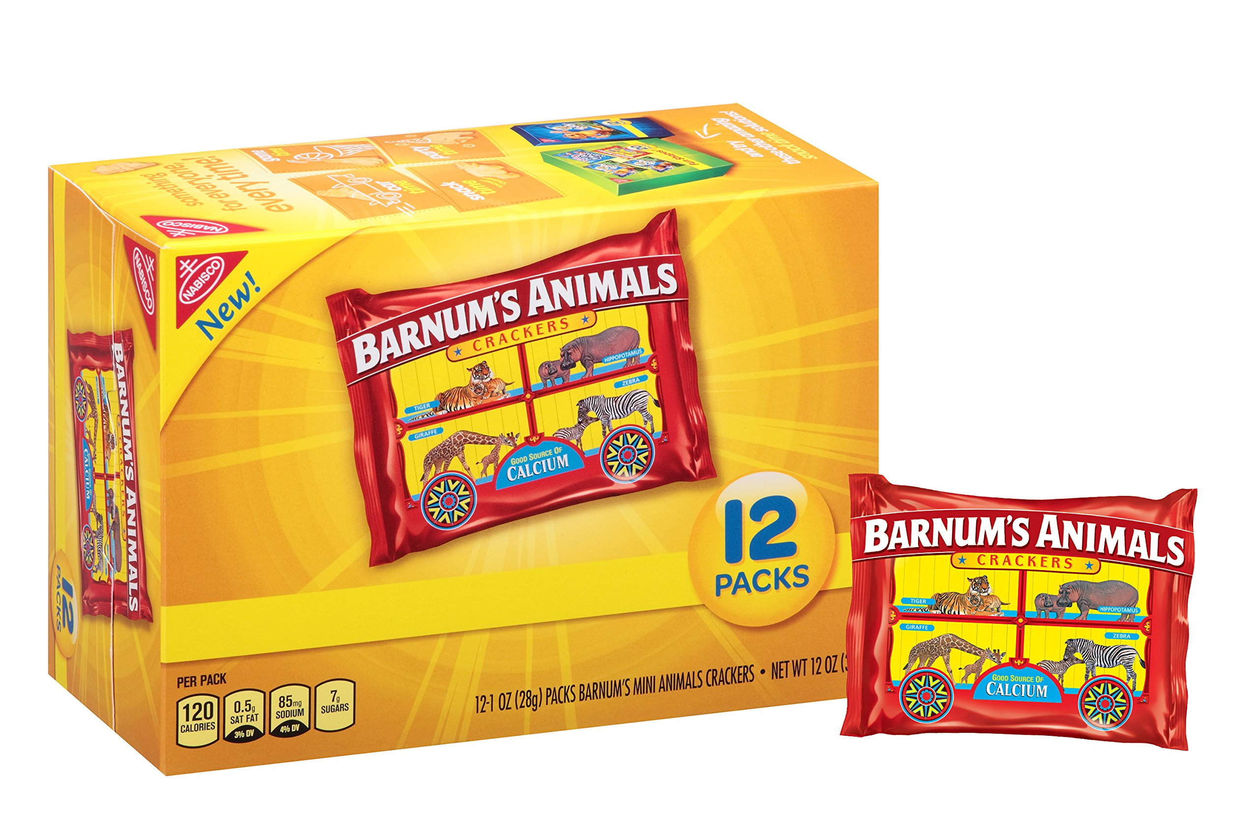 Barnum's Animals 12 Count Mini Animal Crackers Snack Packs, Original, 12.0 Ounce (Pack of 4) by Barnum's Animals