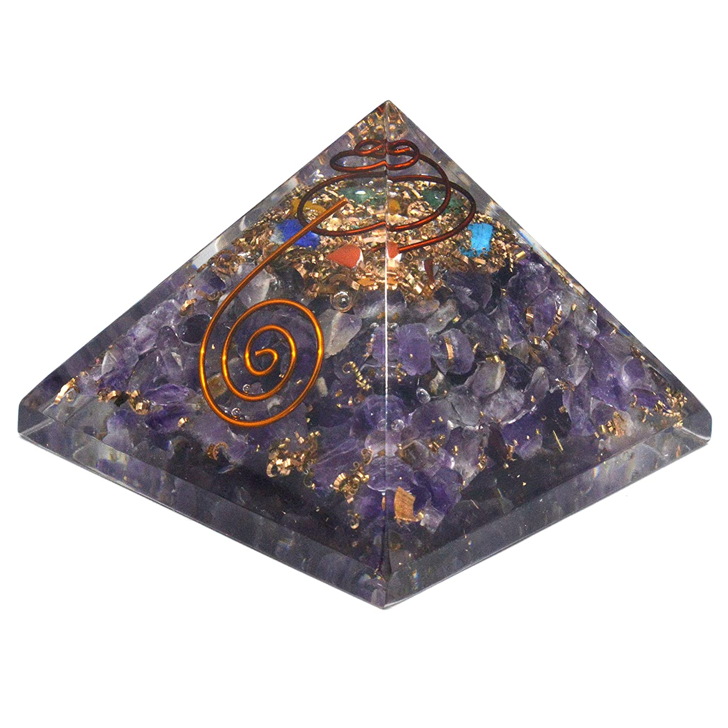 Healing Crystals India Free E-book 135pages Natural Gemstone Amethyst Chips Filled Orgone Pyramid OP126 (70mm) 1 Piece Purple bp24