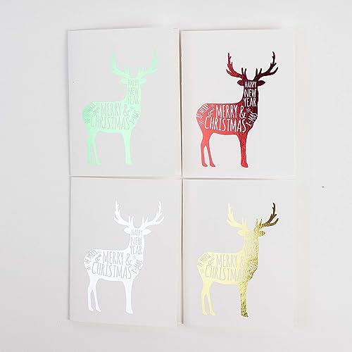 deer christmas cards 8pk set of 8 foiled christmas cards with envelopes deer - Deer Christmas Cards