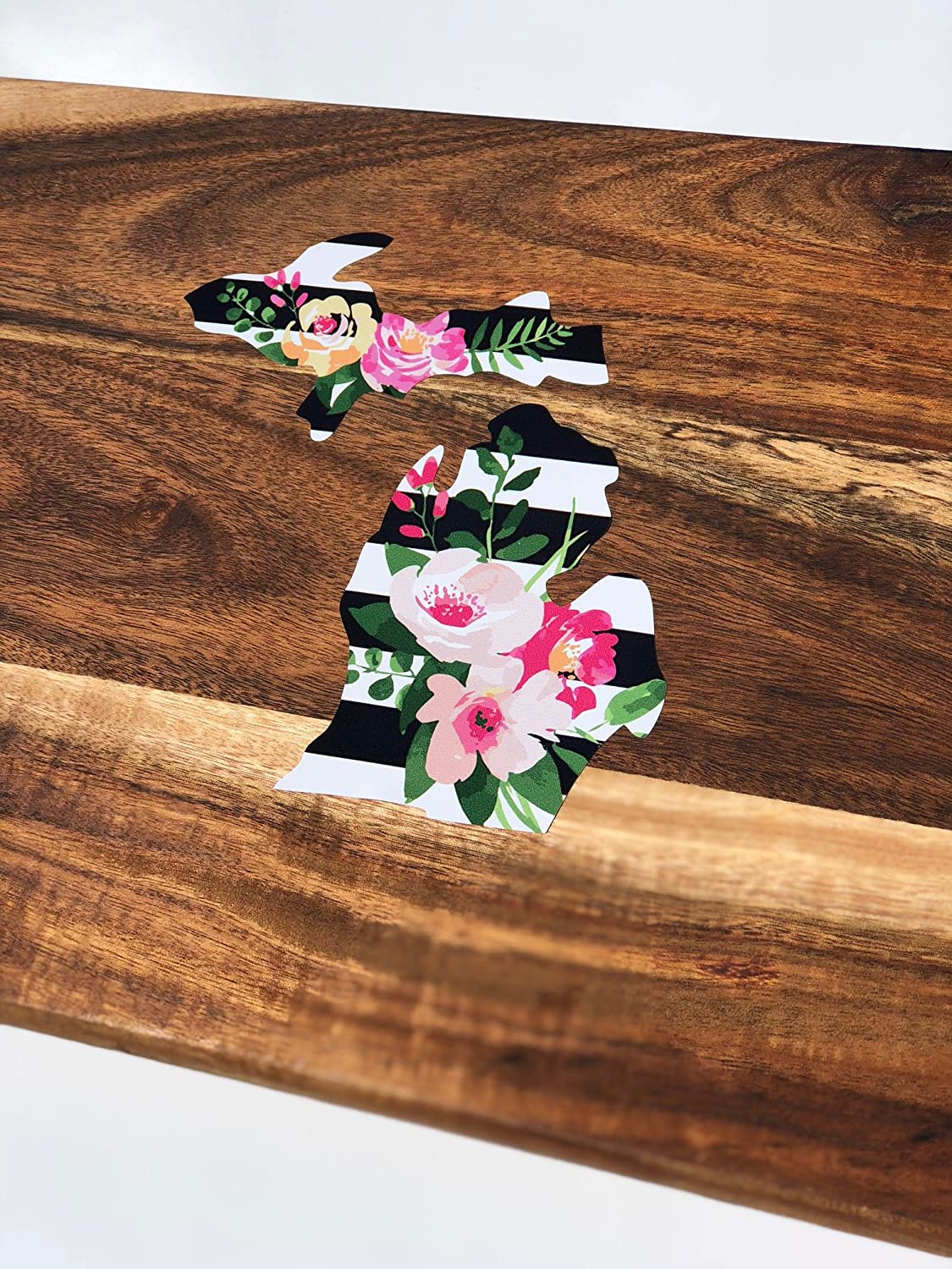 Standard Nudge Printing Michigan Black and White Striped Flower Floral Watercolor Design Car Automotive Decal Bumper Sticker