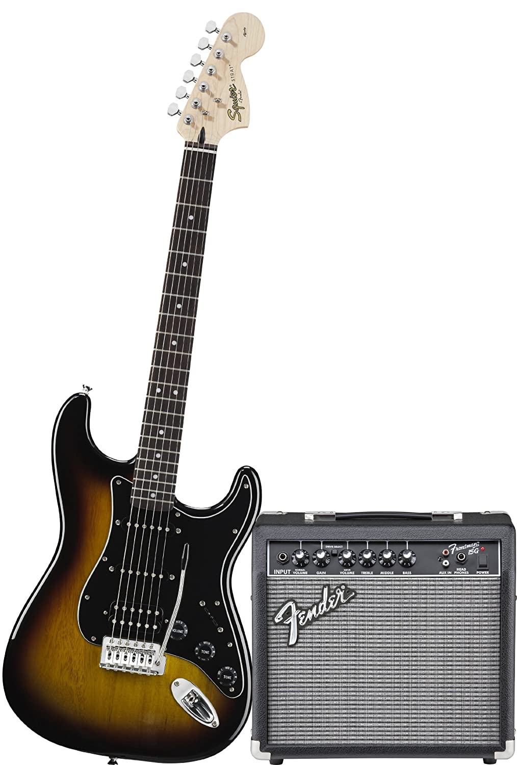 Amazon.com: Squier by Fender Affinity Stratocaster Beginner Electric Guitar  Pack with Fender FM 15G Amplifier, Clip-On Tuner, Cable, Strap, Picks, ...