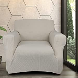 JINAMART Stretch Chair Sofa Armchair Slipcover -1 Spandex Fabric Anti-Slip Soft Couch Cover and 2 Throw Pillow Covers, Furniture Protector with Anti-Skid Foam, Elastic Bottom for Kids Pets (White)