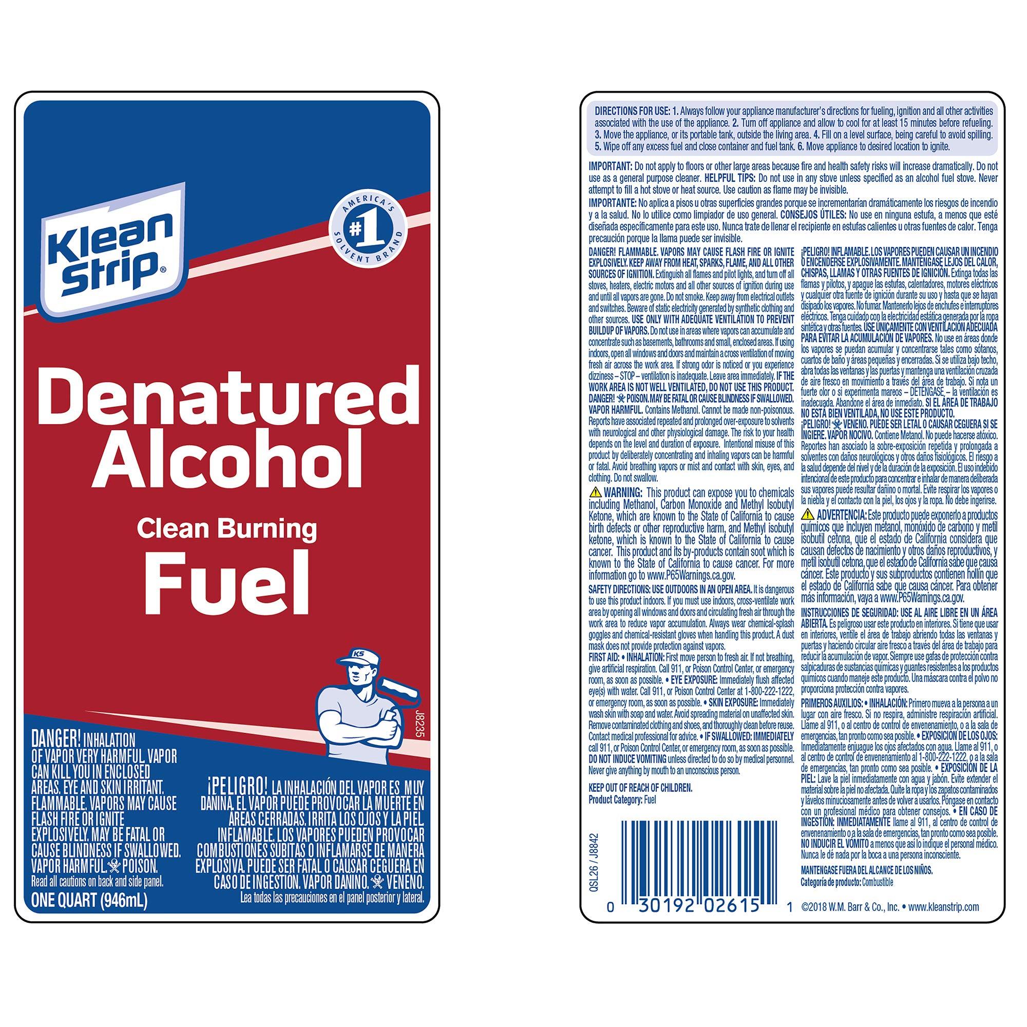 Klean-Strip QSL26 Denatured Alcohol, 1-Quart ''Packaging may vary'' by Klean-Strip