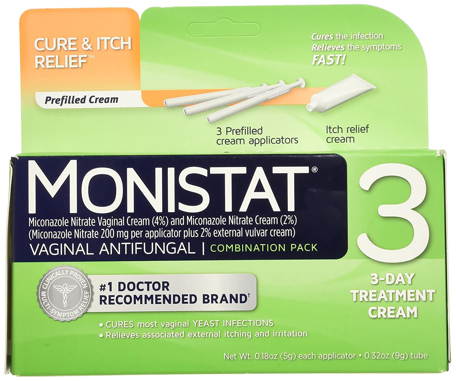 Amazon.com: Monistat 3-Day Yeast Infection Treatment | Prefilled  Applicators + Itch Cream: Health & Personal Care