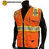 KwikSafety CLASSIC | Class 2 Safety Vest | 360° Hi Viz Reflective ANSI Compliant Work Wear | Hi Vis Breathable Mesh Expandable Pockets | Men & Women Regular to Oversized Fit | Orange S/M